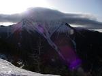朝日を浴びる塩見岳